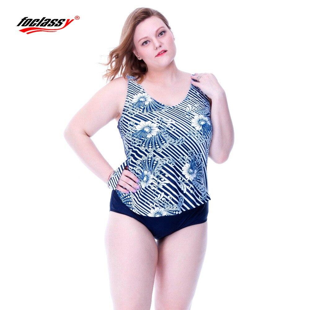 Foclassy Swimsuit Plus Size Swimwear Womens swimming one-piece suits women skirt Bandeau Bather Bathingsuit Beach Wear