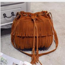 Chispaulo Brand Fashion PU Leather Women Bucket Bag Solid Soft Tassel Women Shoulder Bag Famous Design Women Crossbody Bag