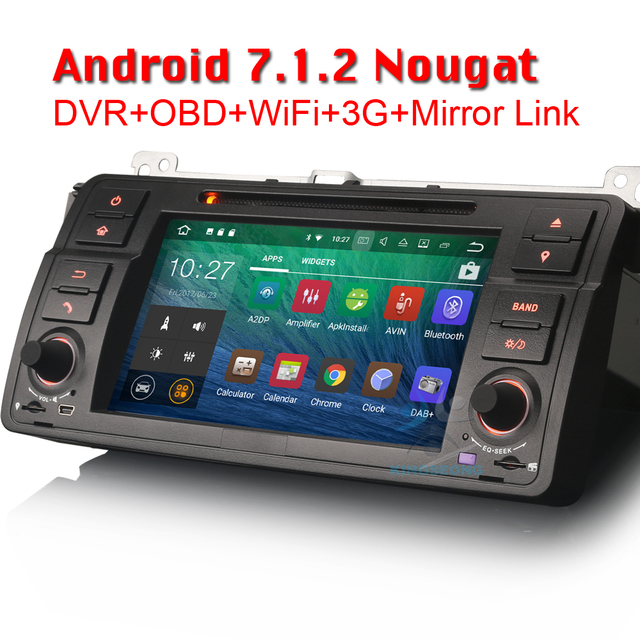 4-Core Android 7.1.2 Head Unit GPS Sat Nav Car DVD Player for BMW 3 Series E46 M3 Rover 75 MG ZT 3G DAB+ WIFI OBD CANBUS BT USB