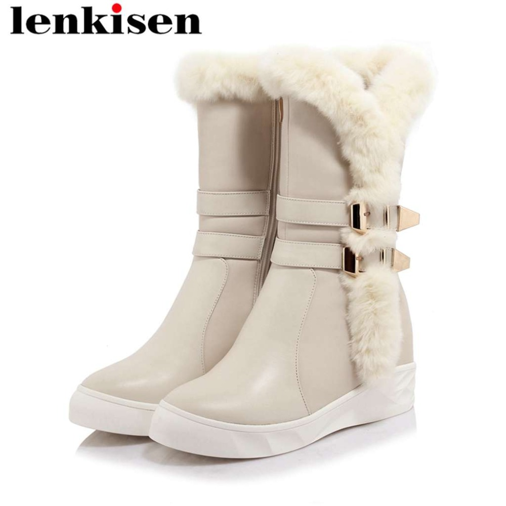 Lenkisen winter comfortable snow boots cow leather platform high bottom metal buckle real fur round toe european style boots L64Lenkisen winter comfortable snow boots cow leather platform high bottom metal buckle real fur round toe european style boots L64