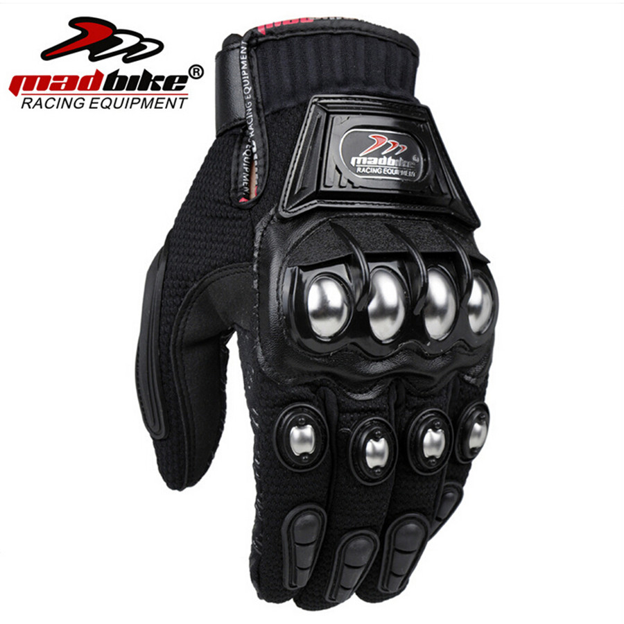 Madbike Motorcycle Gloves protective Gloves motorcycle Stainless Steel Sports Racing Road Gears Motorbike-in Gloves from Automobiles & Motorcycles