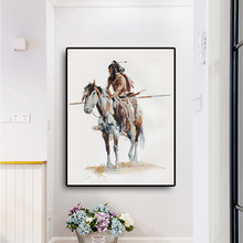 Native Indian Horse Portrait Oil Painting on Canvas Posters and Prints Scandinavian Art Wall Picture for Living Room(China)