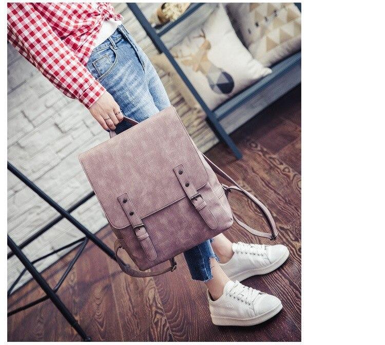 MJ Women Leather Backpack Female PU Leather Travel Bag Large Solid Color Travel Backpack Big School Bag for Teenage Girls (19)
