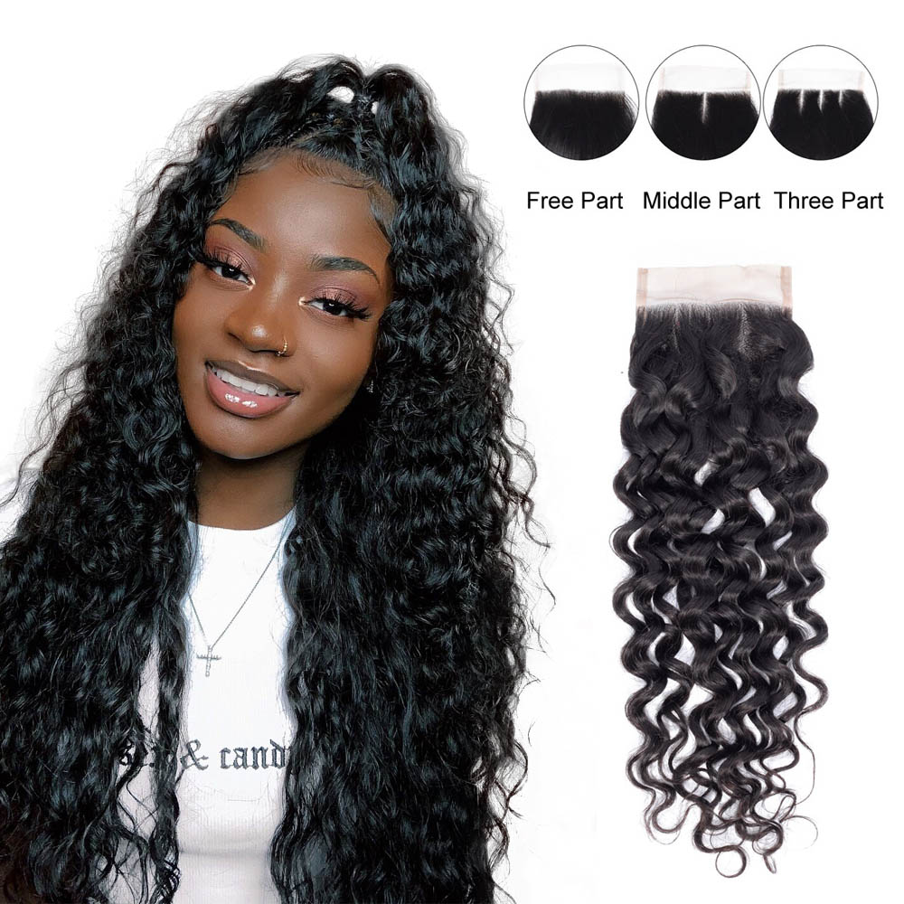 Chic Crown Free/Middle/Three Part Lace Closure 4 x 4 Brazilian Human Hair