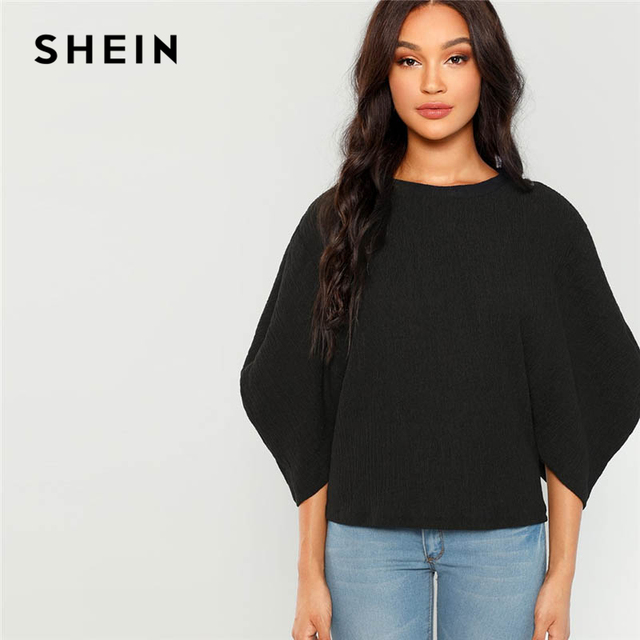 b83657a720e0e SHEIN Rust Office Lady Elegant Bishop Sleeve Crop Bardot Solid Modern Lady  Tee 2018 Autumn Highstreet