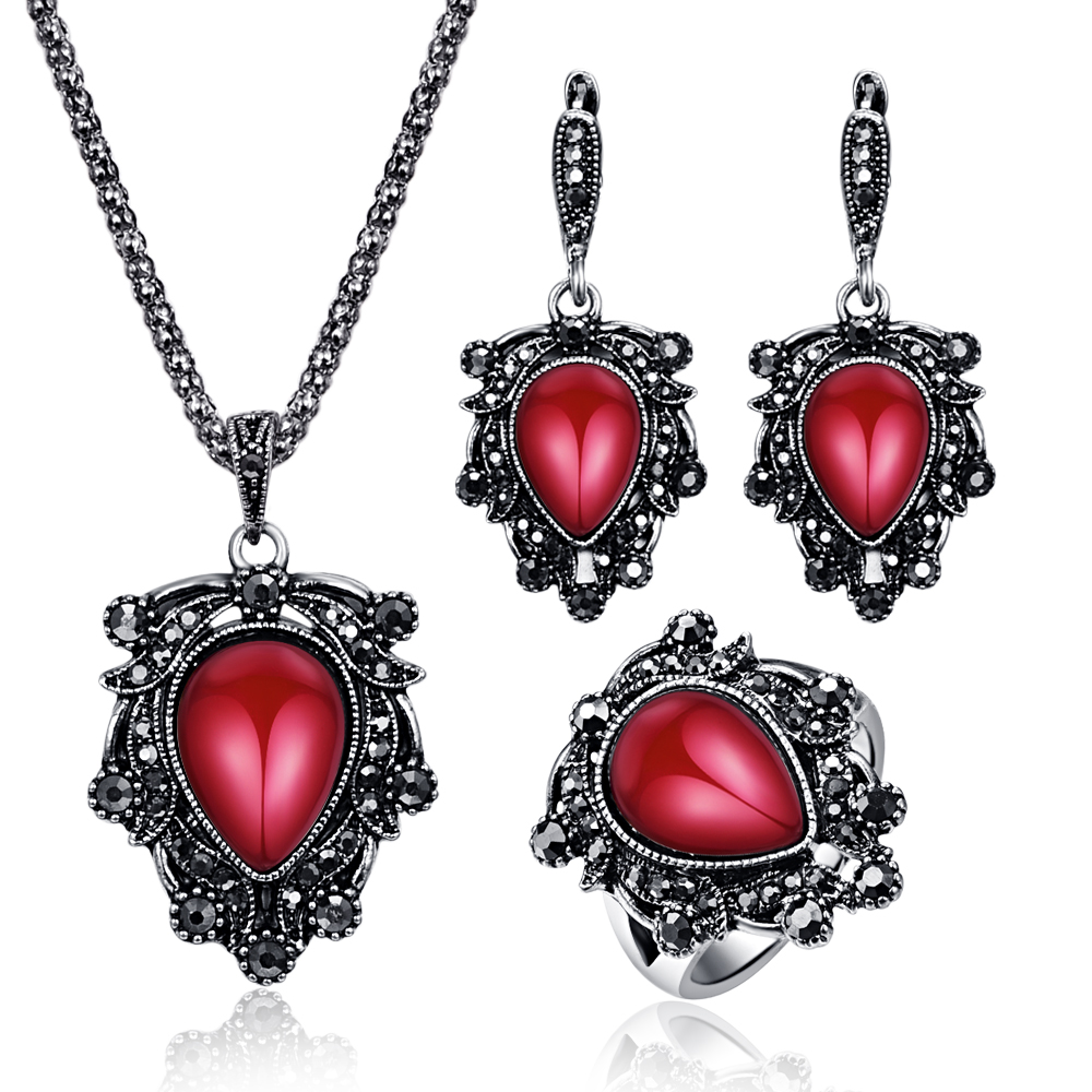 Vintage Bridal Jewelry Sets For Women Antique Silver Black Rhinestone Big Water Drop Resin Stone Pendant Necklace Earrings Set