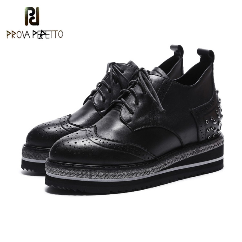Prova Perfetto 2018 British Style Point Toe Genuine Leather Flange Woman Shoes Black Lace-up Wedge Heel Sewing Women Rome Shoes prova perfetto genuine leather lace up square high heel women pumps pointed toe rivet gladiator shoes british style single shoes