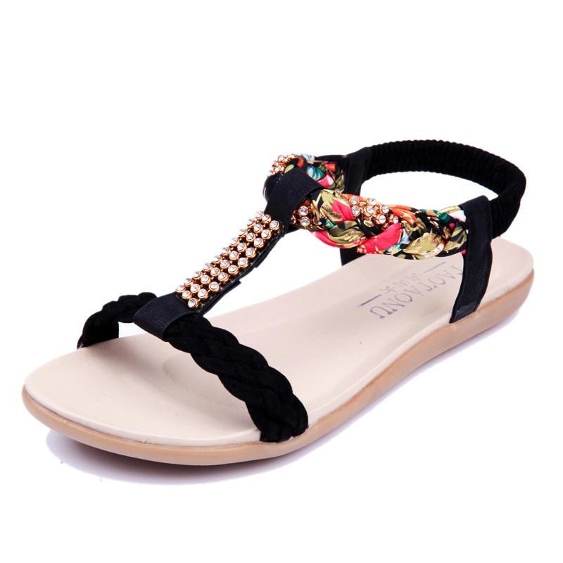 Women Sandals Flats Beach Sandals Fashion Bohemia Open Toes Platform Rhinestone Summer Sandalias Mujer 2018 цена