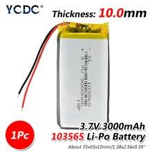 1/2/4 шт. 103565 3,7 V литий-полимерный аккумулятор 3000 мАч DIY мобильный аккумулятор питания зарядки аккумулятора сокровище для DVD gps камера PSP электронная книга