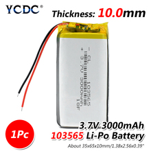 1/2/4Pcs 103565 3.7 V lithium polymer battery 3000 mah DIY mobile power charging treasure battery For DVD GPS PSP Camera E-book 3 x factory direct mobile power battery lithium polymer battery 296180 1380mah slim battery charging treasure