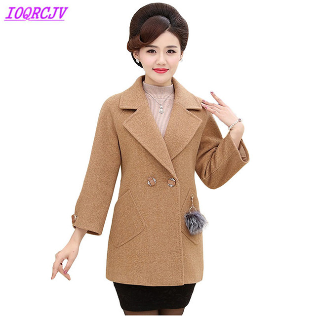 607ce9bcd438a Woolen coat women 2018 Autumn Winter Plus size Wool jackets high quality  middle aged female winter short Wool coats IOQRCJV H534