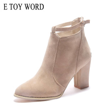 E TOY WORD Women 2018 Fashion Autumn Boots Thick Heel Ankle boots women Pointed Toe Side Zipper Lady High Heels Martin boots цены онлайн