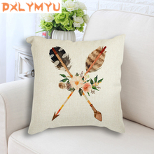 Kids Room Decoration Feather Pillow Linen Cotton Cushion Cover for Sofa Home Decor Flower Square Pillowcase 45x45cm Pillow Case white cushion cover solid twist embroidered square pillow case ivory grey cotton pillow cover 45x45cm home decoration sofa 18