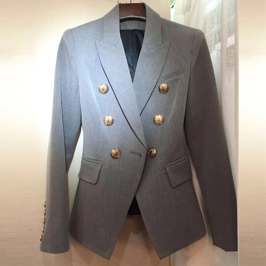 HIGH STREET New Fashion 2020 Stylish Blazer Jacket Women's Lion Gold Buttons Double Breasted Career Blazer Outer Wear