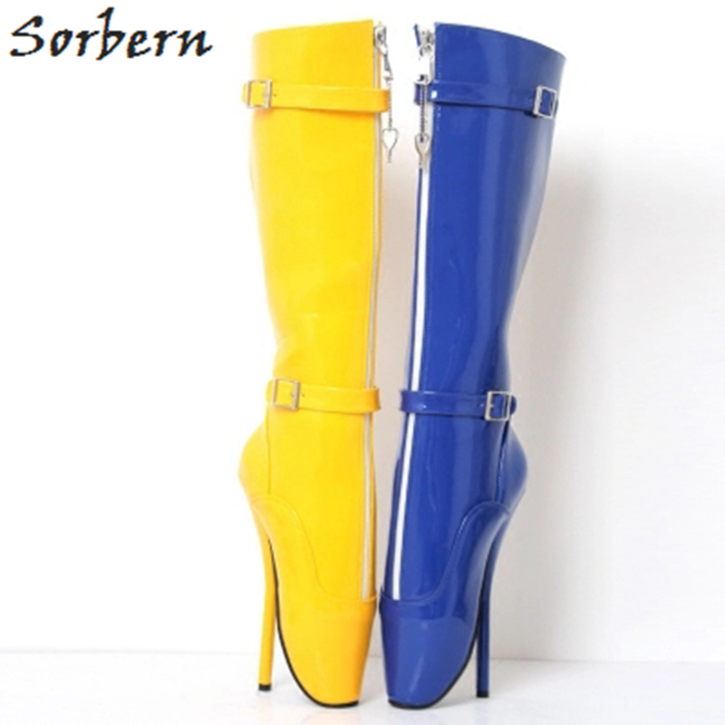 Sorbern High Heels 18CM Women Boots Plus Size Patent Leather Ballet Ladies Party Boots Unisex Dance Shoes Hot Sale S silver patent leather sexy ballet heels fetish shoes high heels pumps silver heels ladies party shoes 2017 ballet dance shoes