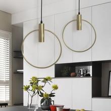 Modern Gold Single Ring Pendant Light Home Art Decoration Lamp E27