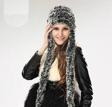 Настоящее трикотажные РЕКС кролика шляпу ухо муфты earwarmer шарф шапка мягкие и модные доставка бесплатно шапочка кисточкой женщины леди вязать