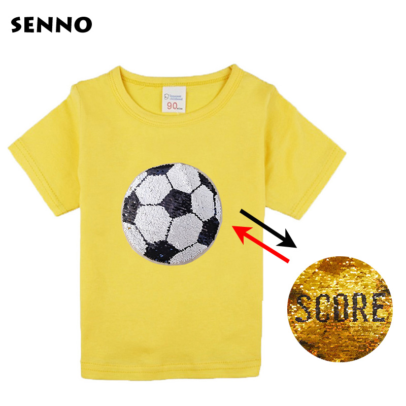 Summer football score switchable sequin top baby girls tee shirt boys glitter T shirt kid magic discoloration tops 2-12 yrs