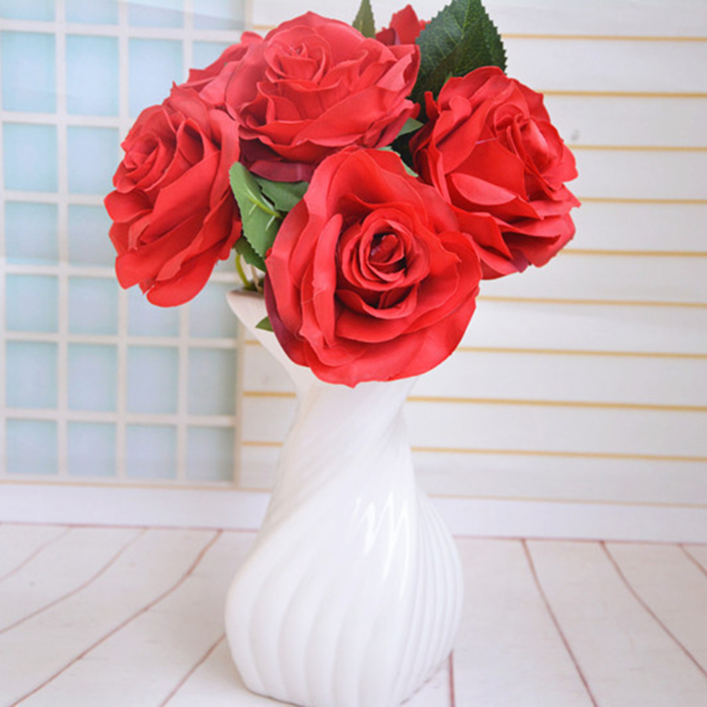 Rose christmas ornament - Artificial French Perfume Rose Flower Christmas Party Fashion Wedding Silk Artificial Simulation Flowers 1pc Home Ornament