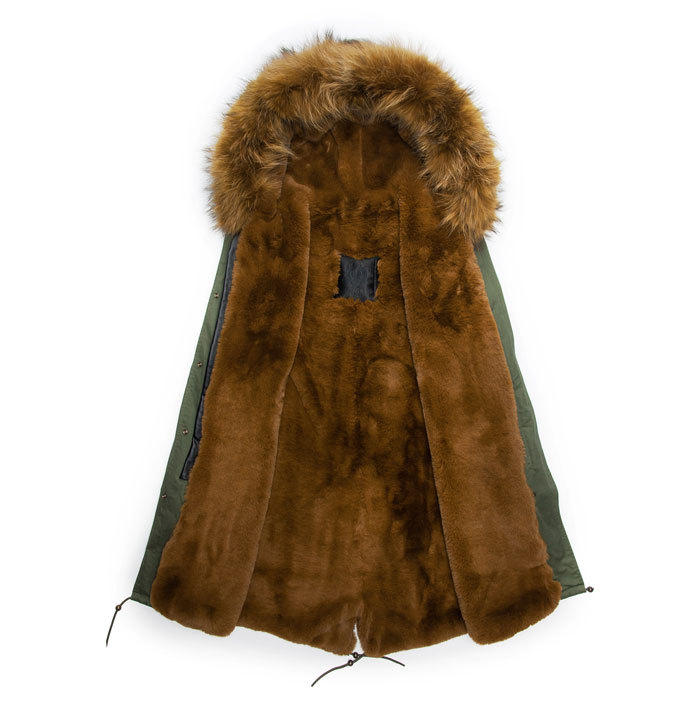 New Design Army Green Coats Green Fur Collar Winter Brown Lined Long Style Jacket Fur Parka Men