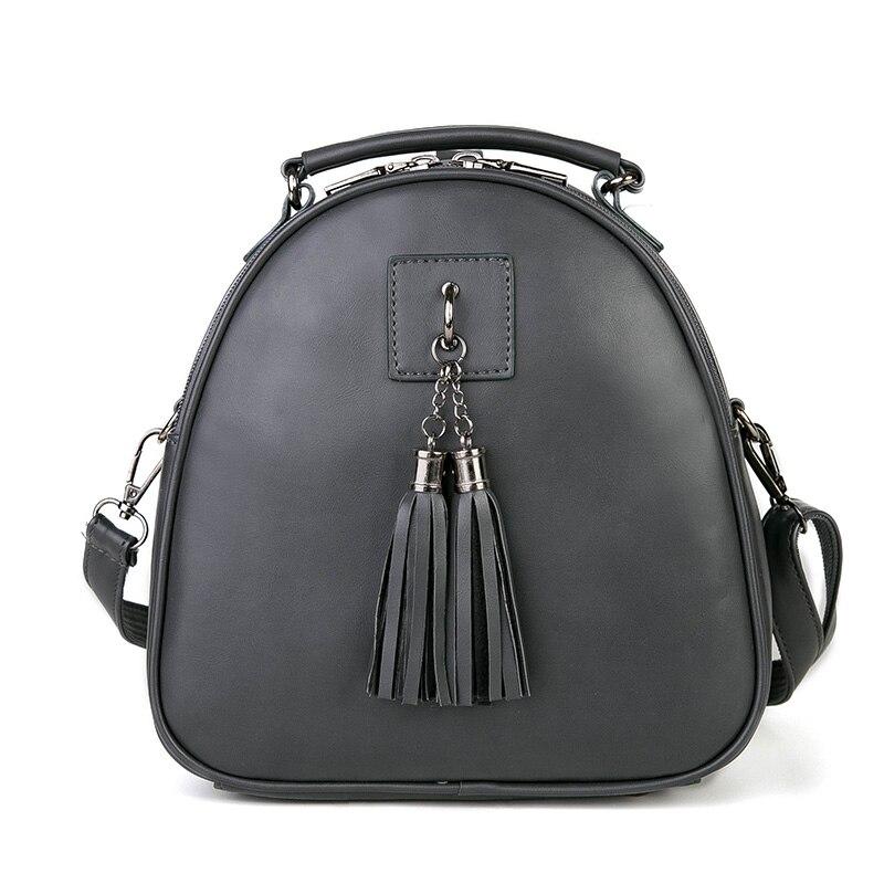 Fashion Multifuncional Women Daily Backpack High Quality Brief Leather Shoulder Bag Female Tassel Bag Mochila Feminina