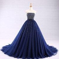 2019 Robe De Mariage Принцесса блестящие свадебные платья роскошные темно синие Бальные платья вечернее платье сделано Vestido De Noiva