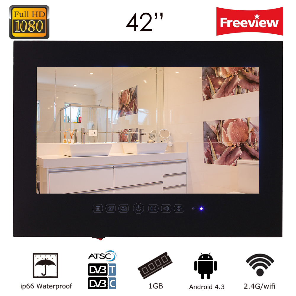Souria 42 inch Android 4.2 Smart WiFi 1080HD Full HD Frameless Shower Television Internet Bathroom TV (Black/White)