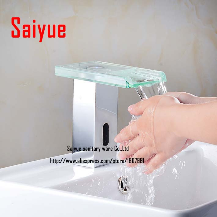square shape single cold automatic sensor faucet mixer  with waterfall glass spout touchless tap square shape single cold automatic sensor faucet mixer with waterfall glass spout touchless tap