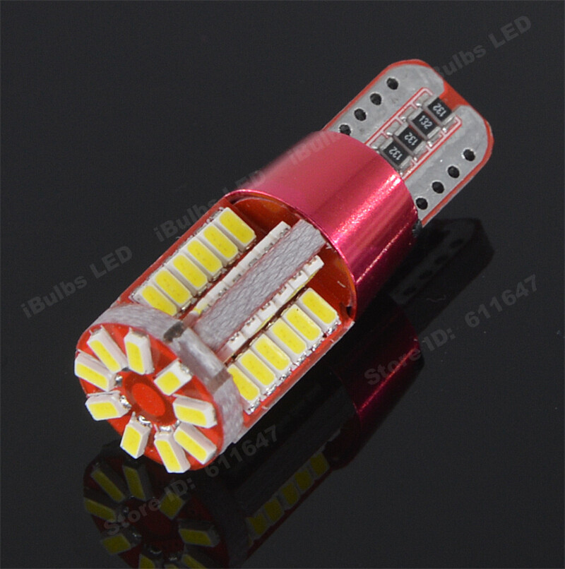2pcs T10 No Electrode W5W 57 LEDs 194 501 3014 SMD Auto Canbus Error Free Car Interior lights Constant current DC 12V