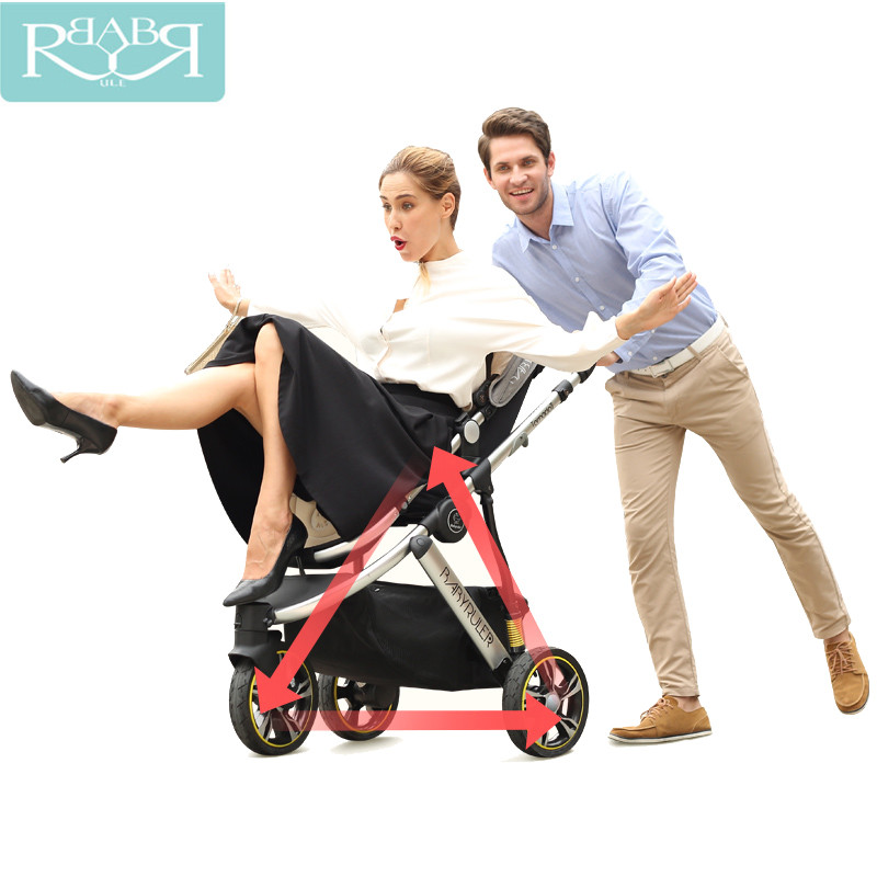 Babyruler Baby Stroller 3 in 1 High Landscape 6 Colors Aluminum Luxury Folding Baby Carriage For Newborn Sit And Lie Kinderwagen