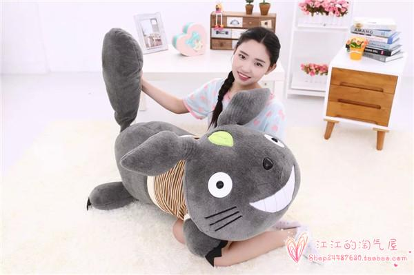 creative stripes cloth prone totoro large 120cm plush toy hugging pillow Christmas gift h816 stripes sweater design prone husky largest 165cm gray husky dog plush toy sleeping pillow surprised christmas gift h907