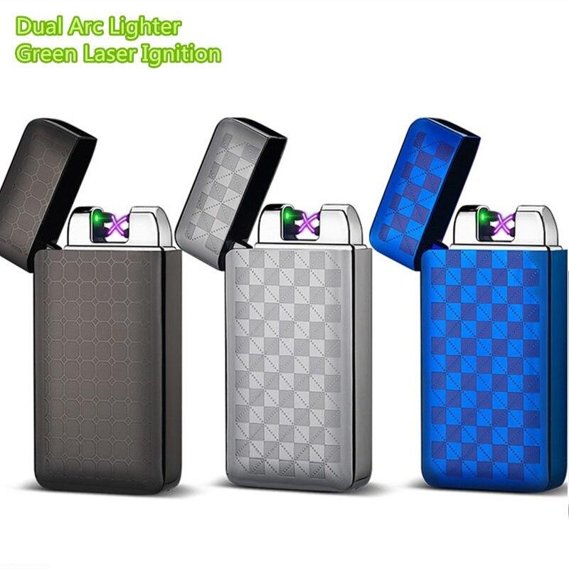 Encendedor electrónico USB de doble arco, Encendedor electrónico, pulsador de Metal, novedad, Encendedor de Plasma a prueba de llama, Encendedor de Plasma