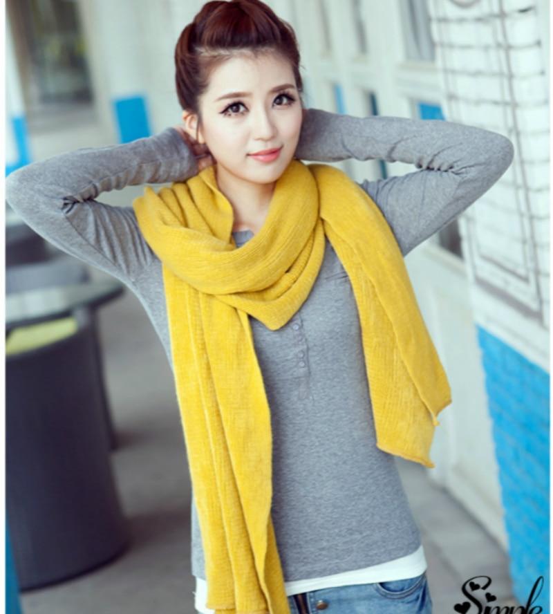 Korean Simple Solid Color Warm Winter Scarf Women 220cm Elastic Knitted Wool Ring Scarves Shawl Amazing Blanket Scarf Echarpe