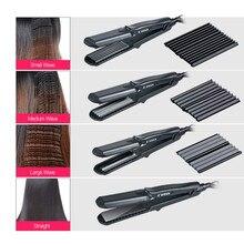 100-240V CkeyiN  Hair Styling Tool Corrugated Iron Hair Straightener Ceramic  Straightening Flat Iron Corn Waver Hair Plate