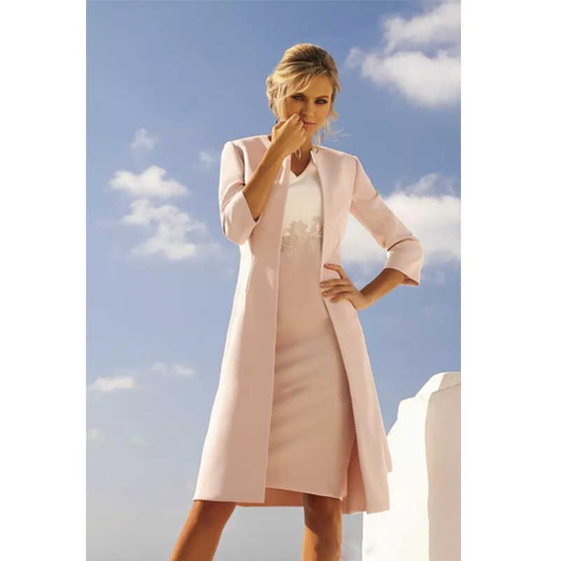 Sederhana Ibu Gaun Pengantin dengan Panjang Jaket Jas Selubung Lutut Panjang Pendek Gaun Tamu Pernikahan Gaun Formal Gaun Vestido