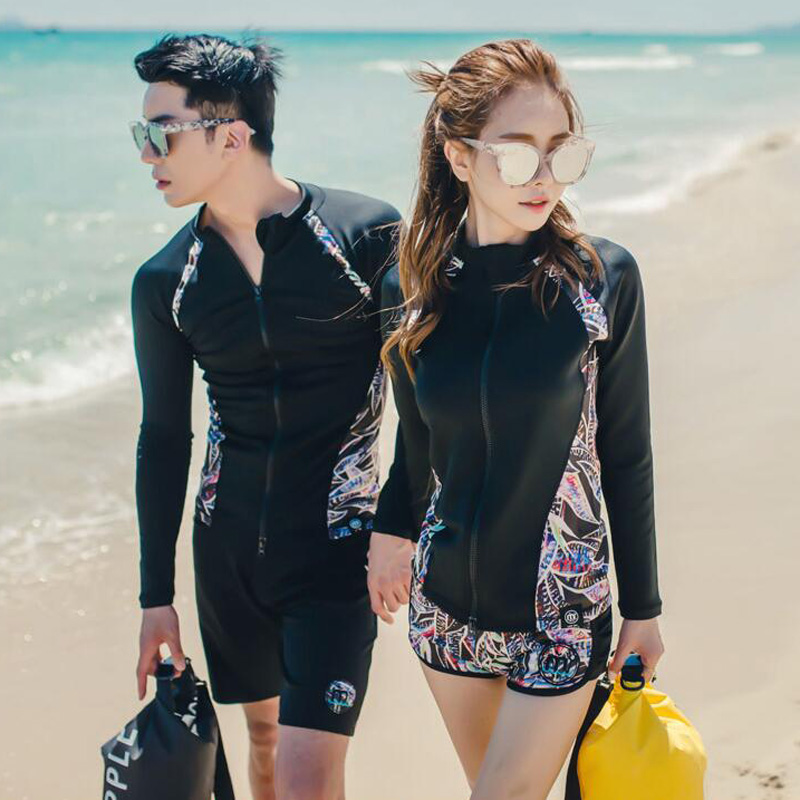 Couples Swimwear Rash Guards Men Women Long Sleeve Jacket Pants Bra Shorts Beach Wear Surfing Bathing