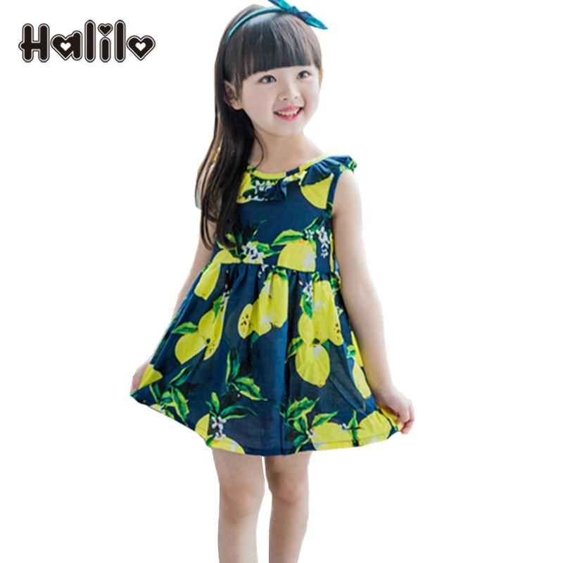 2019 Pakaian Summer Girls Lemon Print Vestidos Infantil Pakaian - Pakaian kanak-kanak