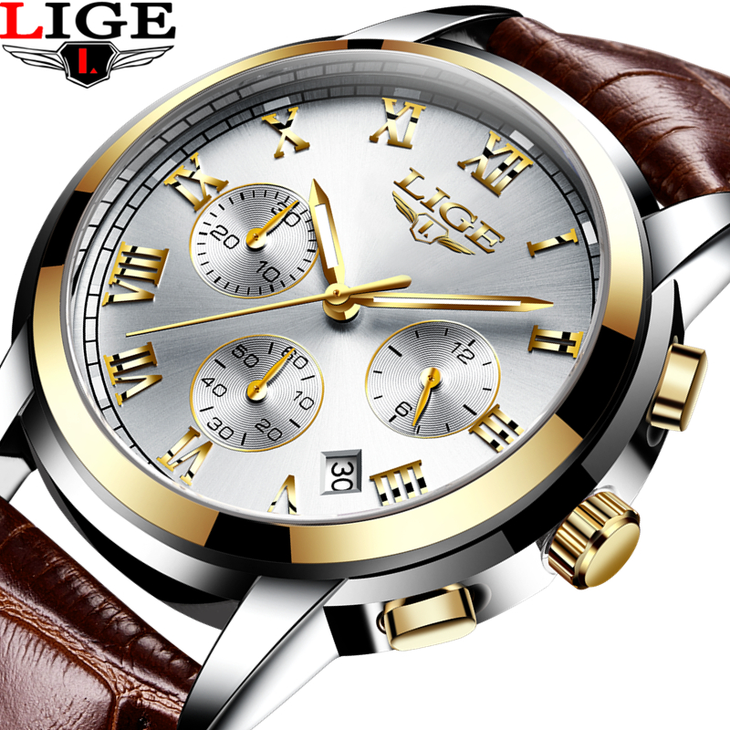 2017 LIGE Men sports Watches Male Fashion Business quartz-watch Men Leather Waterproof Clock Man Auto Date Multifunction Watches lige 2017 new men s watches male quartz watch men real three dial luminous waterproof 30m outdoor sports leather watch man clock