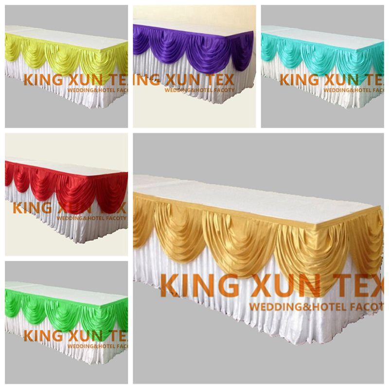 Good Quality Ice Silk Table Skirt Table Cloth Skirting With Valance Swag Drape Decoration