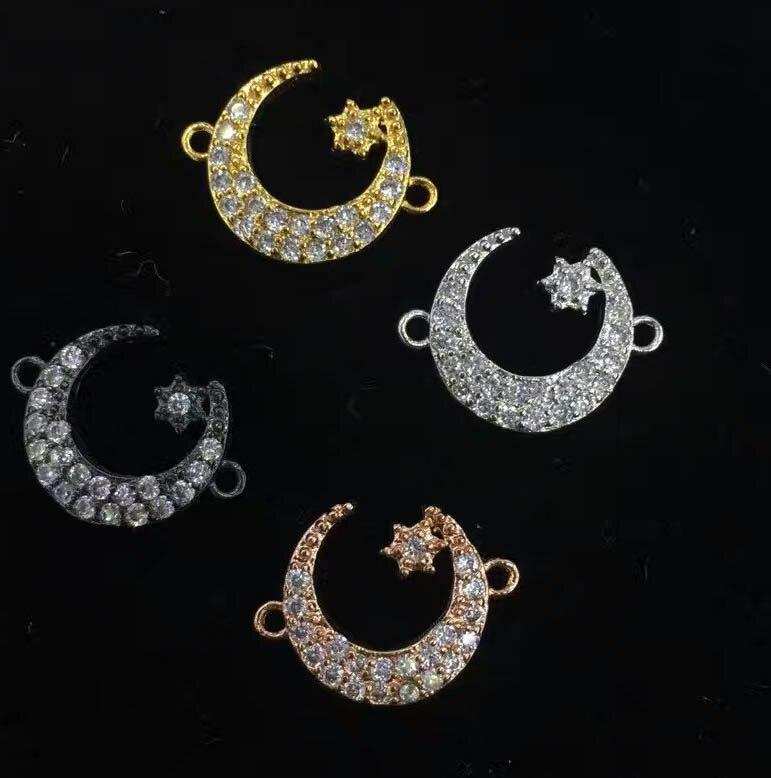 Gros Micro Pave Fluorial lune connecteur, pavé diamant CZ pendentif bijoux lien pour collier 6 pièces 20-30mm