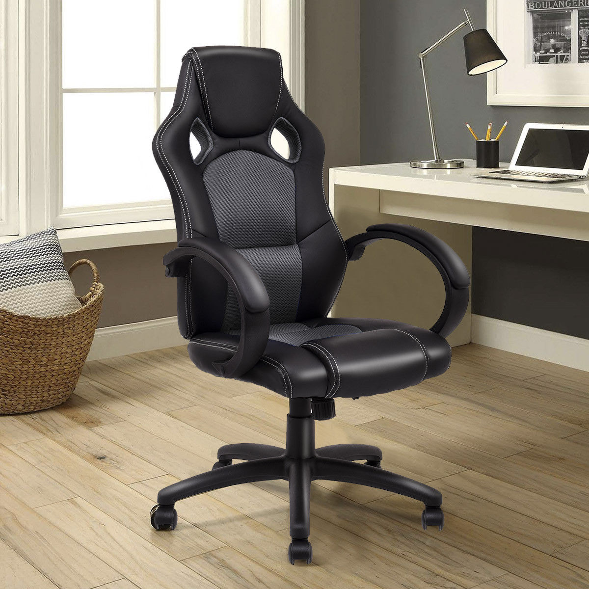 Giantex High Back Racing Chair Pu Leather Bucket Seat Office Computer Desk  Gaming Chair Swivel Executive Furniture HW54590GR In Office Chairs From  Furniture ...