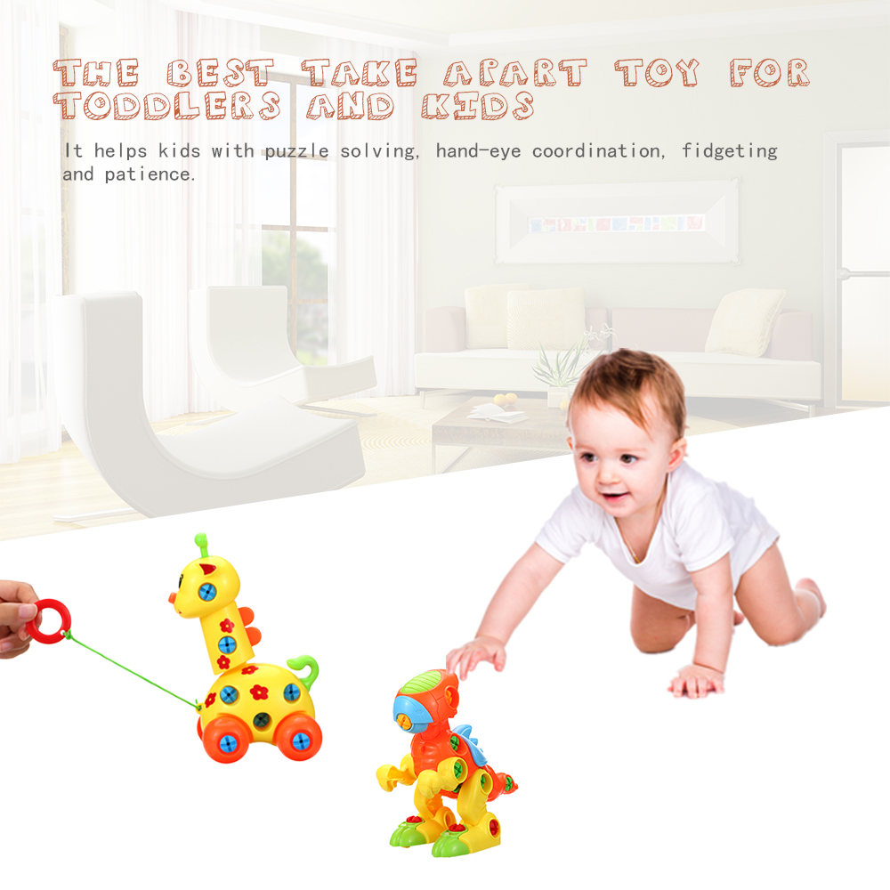 Kids DIY Creative Disassembly Animal Toy Puzzle Assembly Toy Children Baby  Cartoon Model Educational Learning Plastic Toys