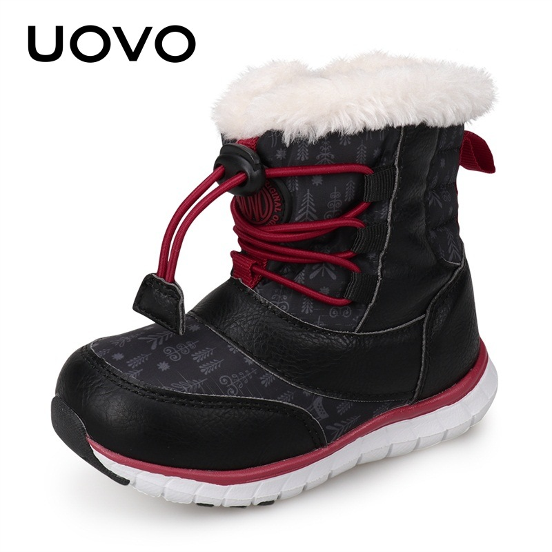 UOVO 2018 Snow Boots Kids Winter Boots Boys Waterproof Shoes Fashion Warm Baby Boots For Boys Toddler Footwear Size 23#-30# uovo 2018 new winter shoes for boys and girls high quality fashion kids winter boots warm snow children s footwear size 30 38