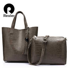 REALER brand 2pcs/set women bag large handbag with tassel artificial leather tote bag female small shoulder bag purse Black