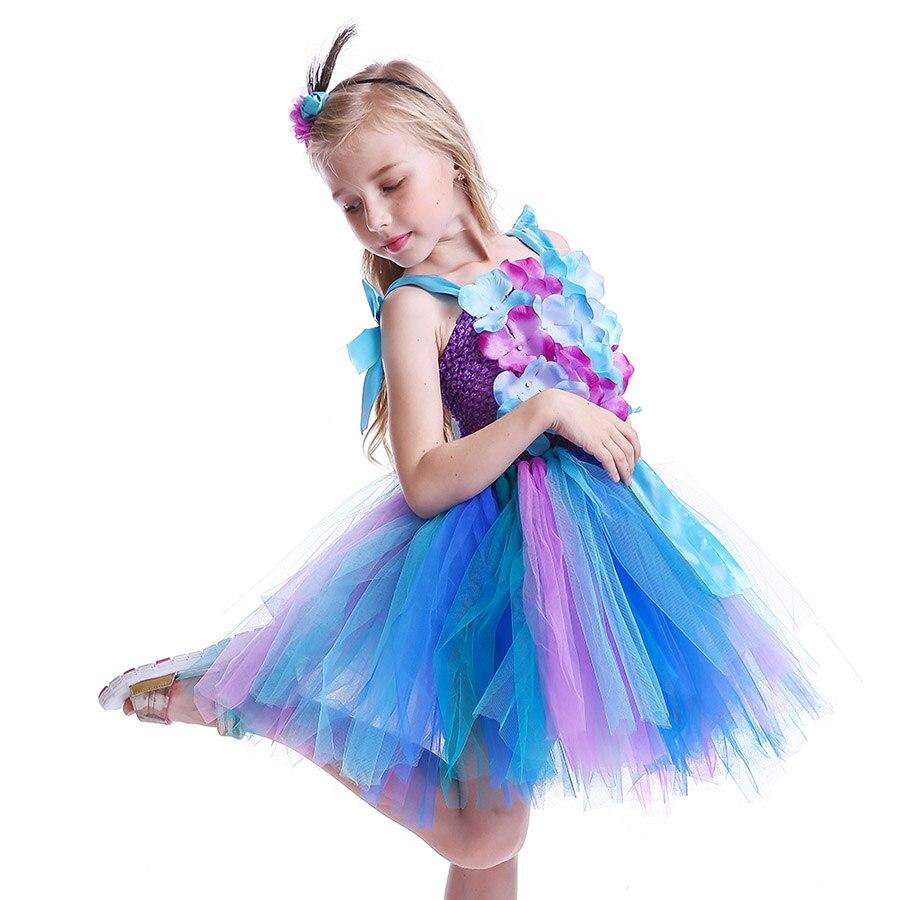 Girls Princess Peacock Flower Tutu Dress Children Handmade Purple and Blue Tulle (3)