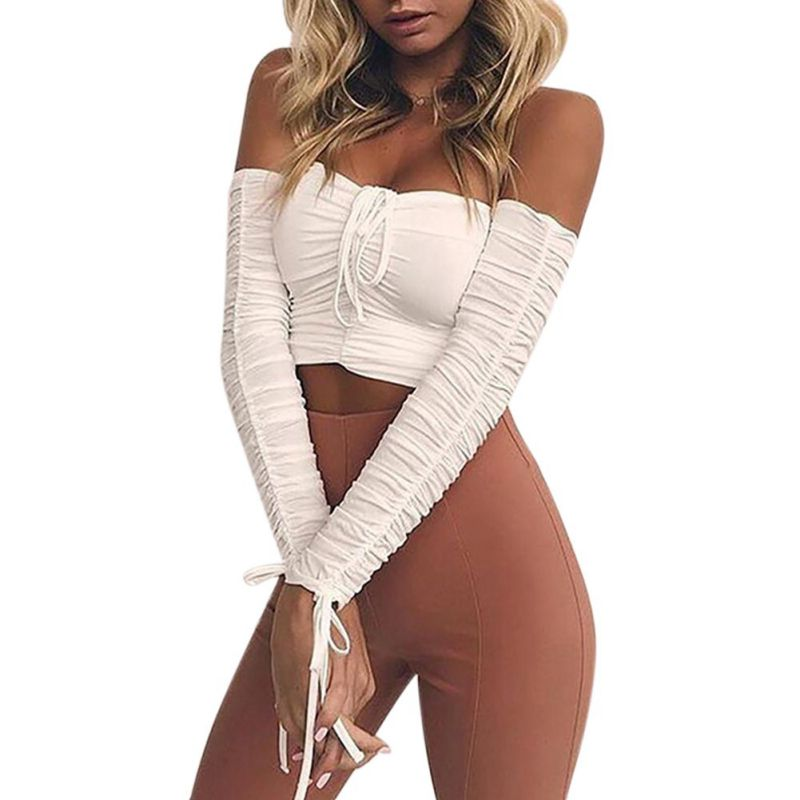 Sexy Off the Shoulder Solid Wrap Bra Cropped Top Long Pleated Sleeve Lace Up Crop Top Tees Short T-Shirt Club Wear Sexy 2018