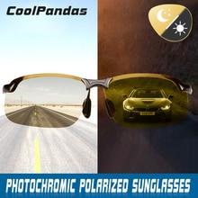 Inteligente fotochromic polarizado óculos de sol dia feminino visão noturna condução esportes camaleão descoloração óculos de sol masculino