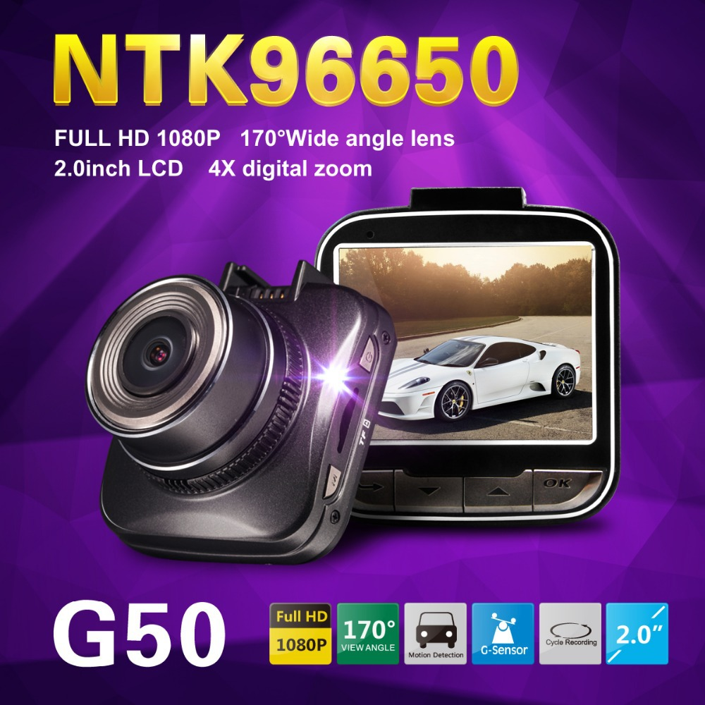 Novatek 96650 G50 Full HD 1080P Mini Car DVR Video Recorder 2.0LCD H.264 Video Recorder WDR G-Sensor Dash Cam Free Shipping!