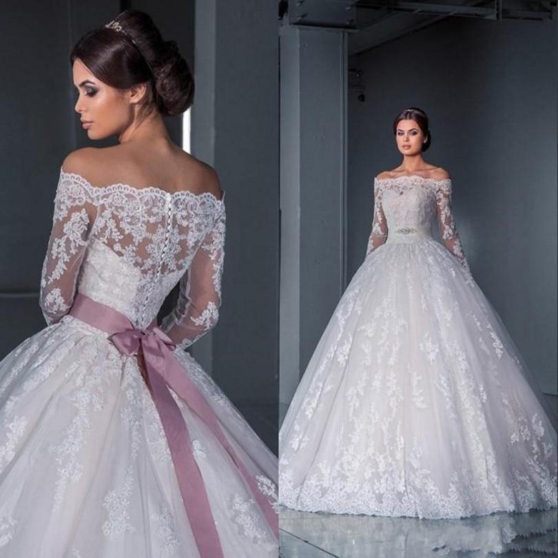 Romantic Elegant 2016 Ball Gown Wedding Dress With Long