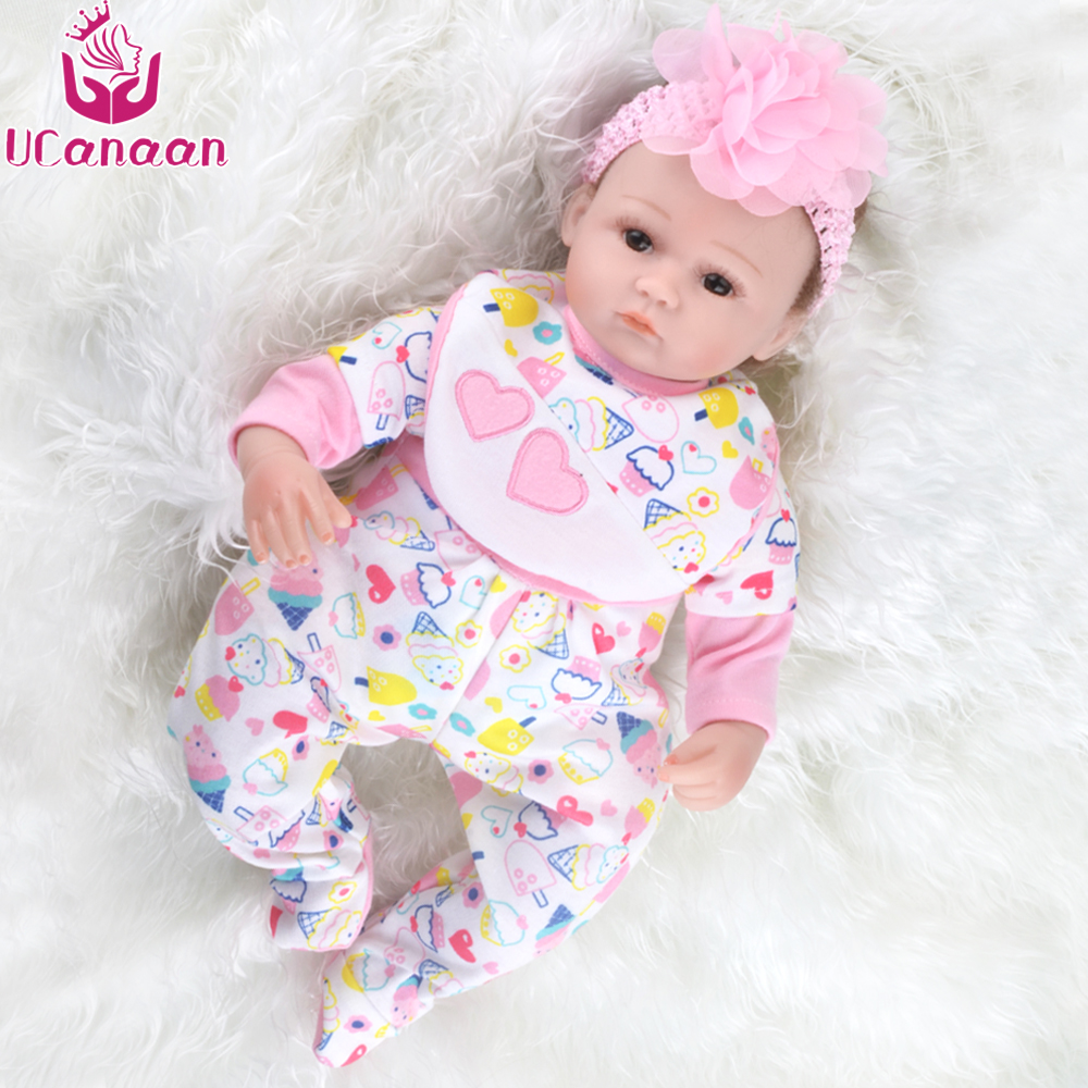 UCanaan 40-45cm Reborn Dolls Babies Toys Cloth Body for Girls Handmade Soft Silicone Reborn Baby Dolls Toys Best Gifts bonecas